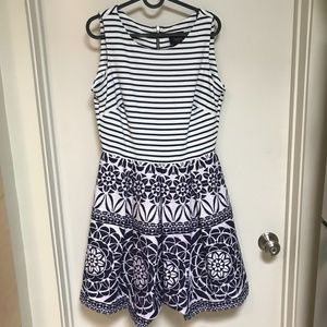 Just Taylor Navy and White Striped Dress 6